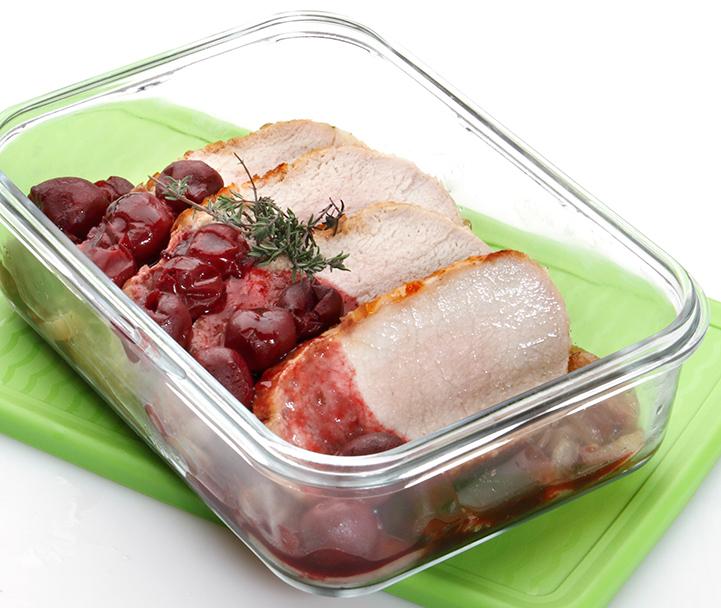 Lomo de cerdo al horno con cerezas