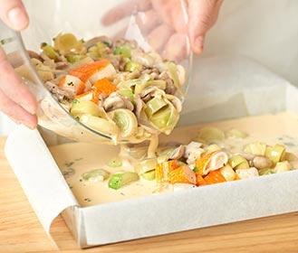 receta paso a paso pastel de puerros y champiñones
