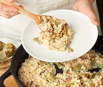 receta paso a paso risotto de alcachofas y jamon