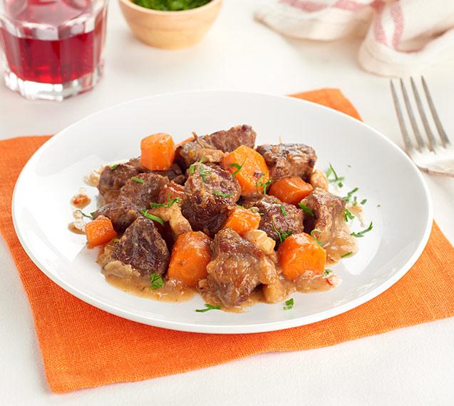 Ternera con zanahorias agridulces