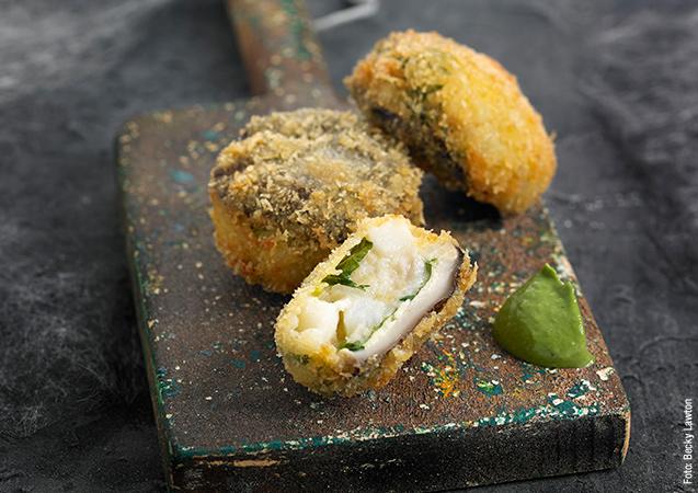 Bombas de shitake y queso
