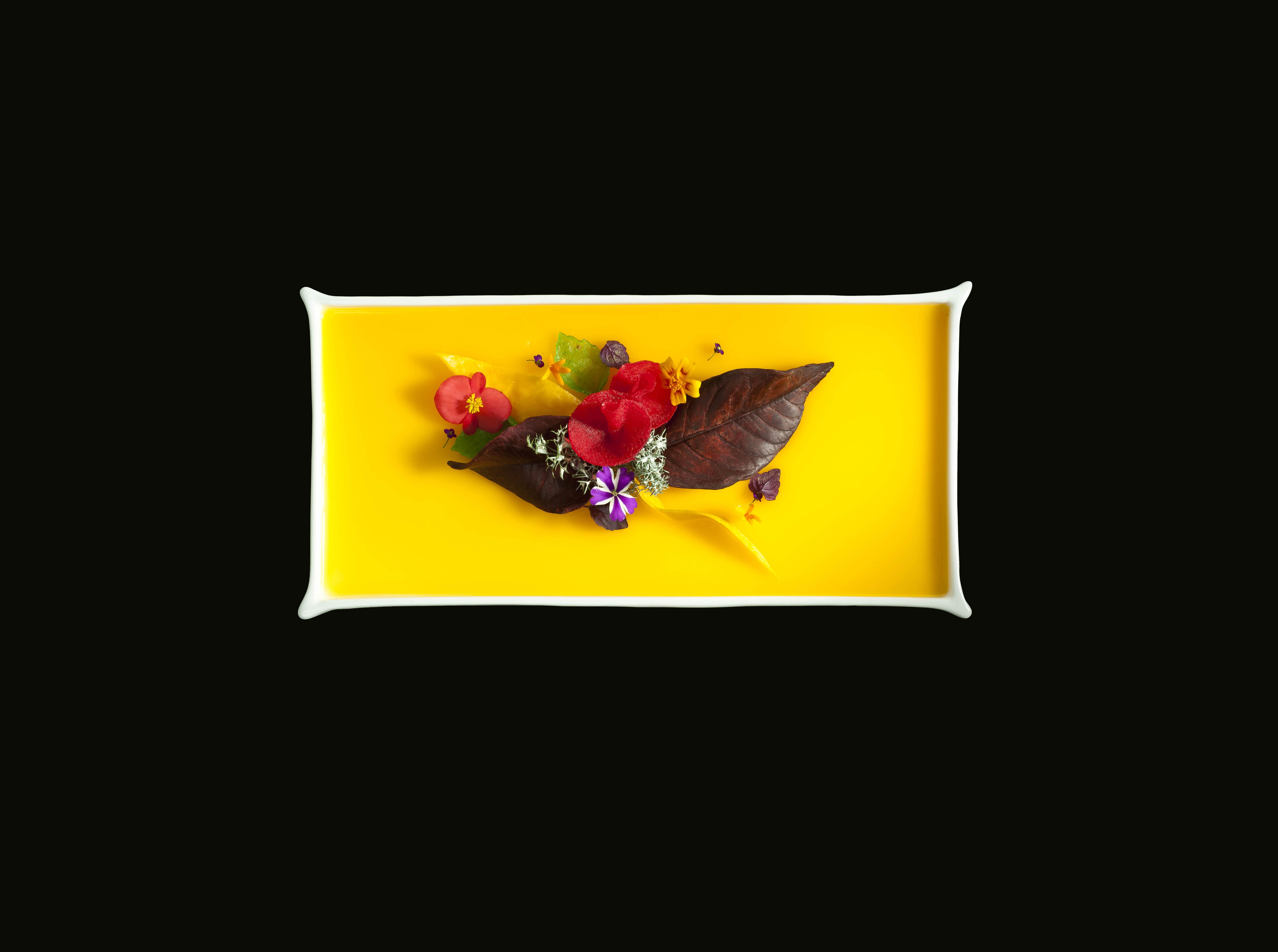 Lámina de tocino de cielo de naranja con hojas de frutas